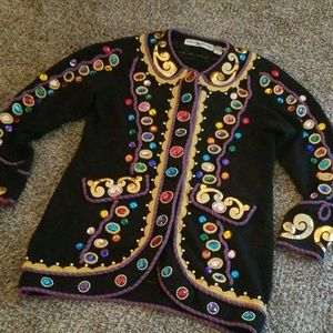 Michael Simon Vintage Jeweled Black Knit Sweater L